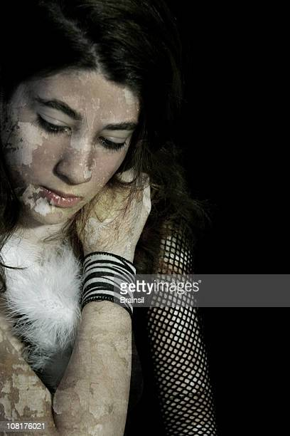 teenager going through deep depression - fishnet stockings stock pictures, royalty-free photos & images
