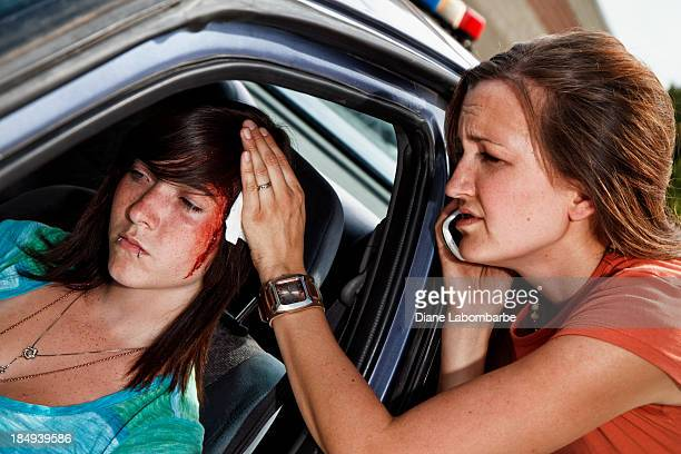 teenager in a car accident, head injury - bloody car accidents stock pictures, royalty-free photos & images