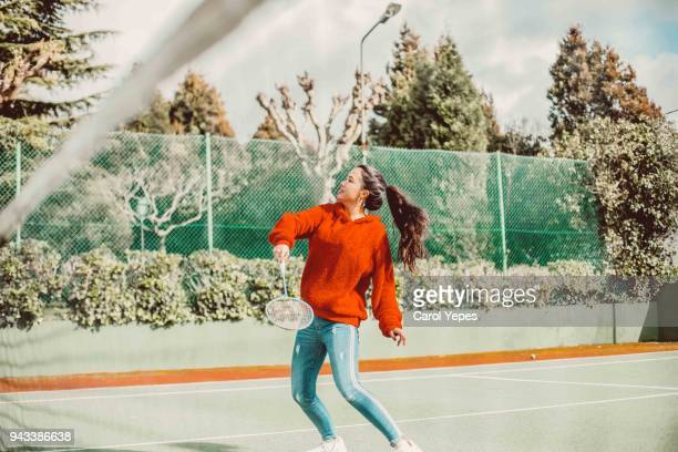 teenager in sport clothes practsing tennis - tennis racquet stock pictures, royalty-free photos & images
