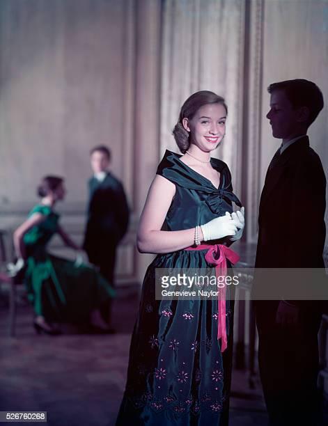 Teenager Modeling a Taffeta Evening Dress
