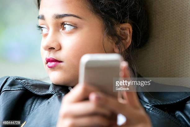 teenager on her mobile phone - child facebook stock photos and pictures