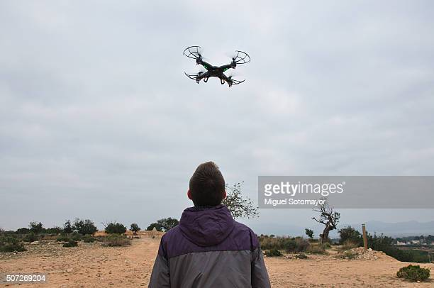 Teenager palying with his drone