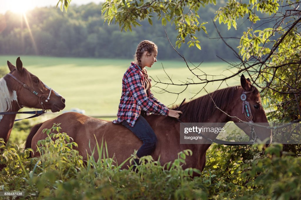 Teenager riding horse : Stock Photo