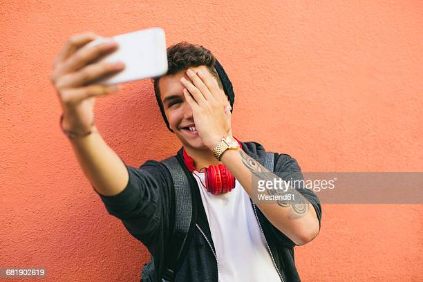 Teenager, smiling, selfie, smartphone