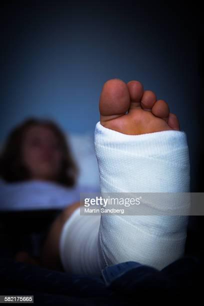 Teenager with broken leg