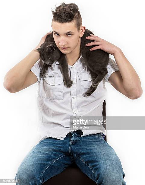 Teenager with cat