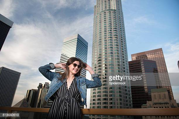Teenager With Sunglasses With LA Skyline