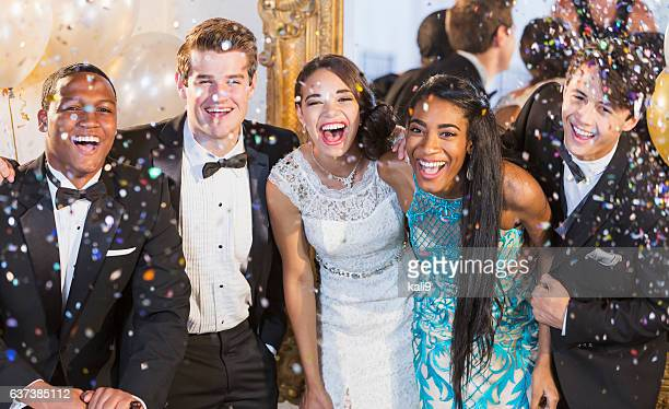 teenagers and young adults in formalwear at party - dinner jacket stock pictures, royalty-free photos & images
