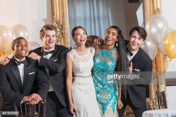 Teenagers and young adults in formalwear