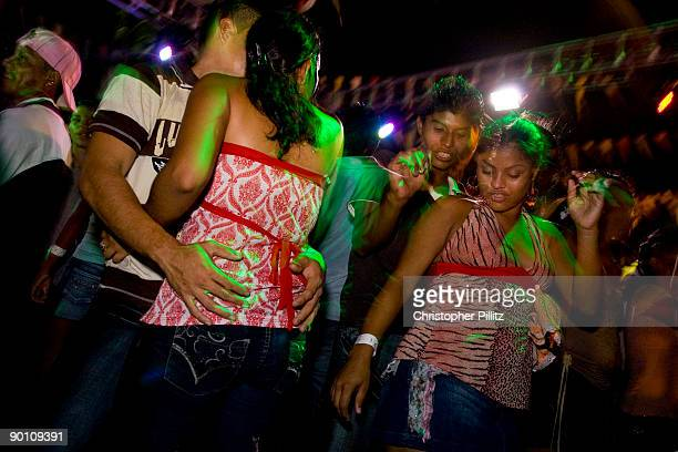 Teenagers at a street party in Managua