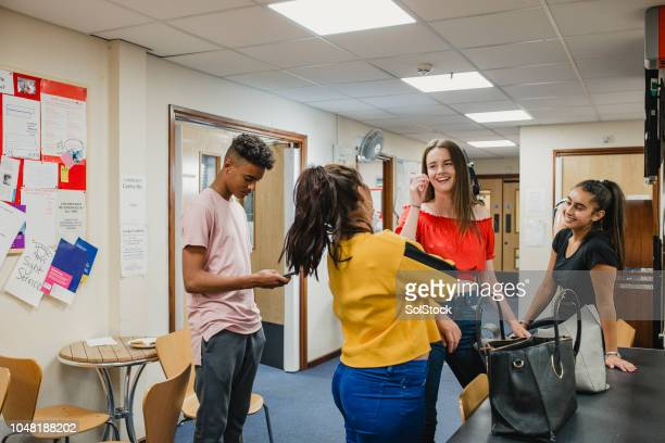 teenagers at youth club - community centre stock pictures, royalty-free photos & images