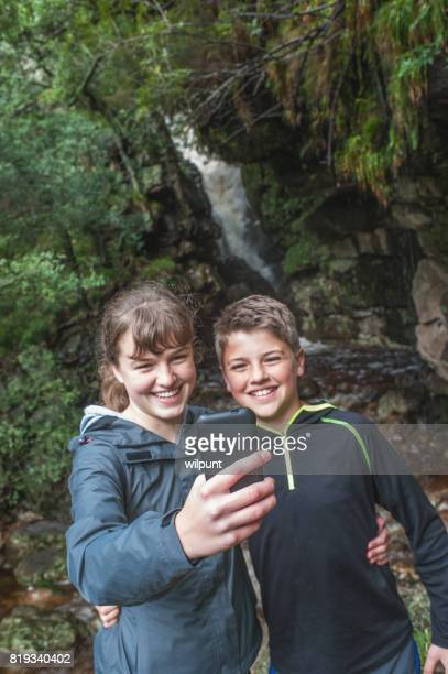 Teenagers Beautiful Selfie at a waterfall