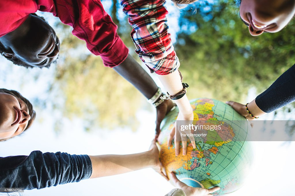 teenagers college student smiling with globe : Stock Photo