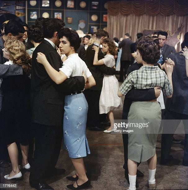 Teenagers dance on the set of Dick Clark's television program, 'American Bandstand,' 1950s.