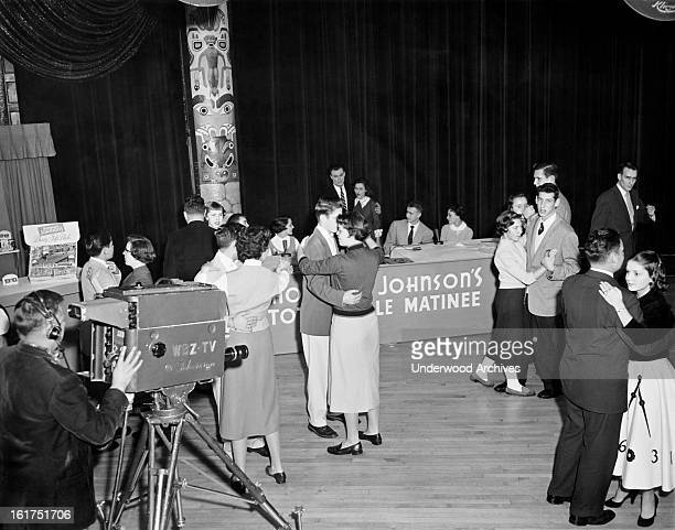 Teenagers dance to the first televised record hop in New England at the Totem Pole Ballroom in Newton Newton Massachusetts December 18 1954 Disc...
