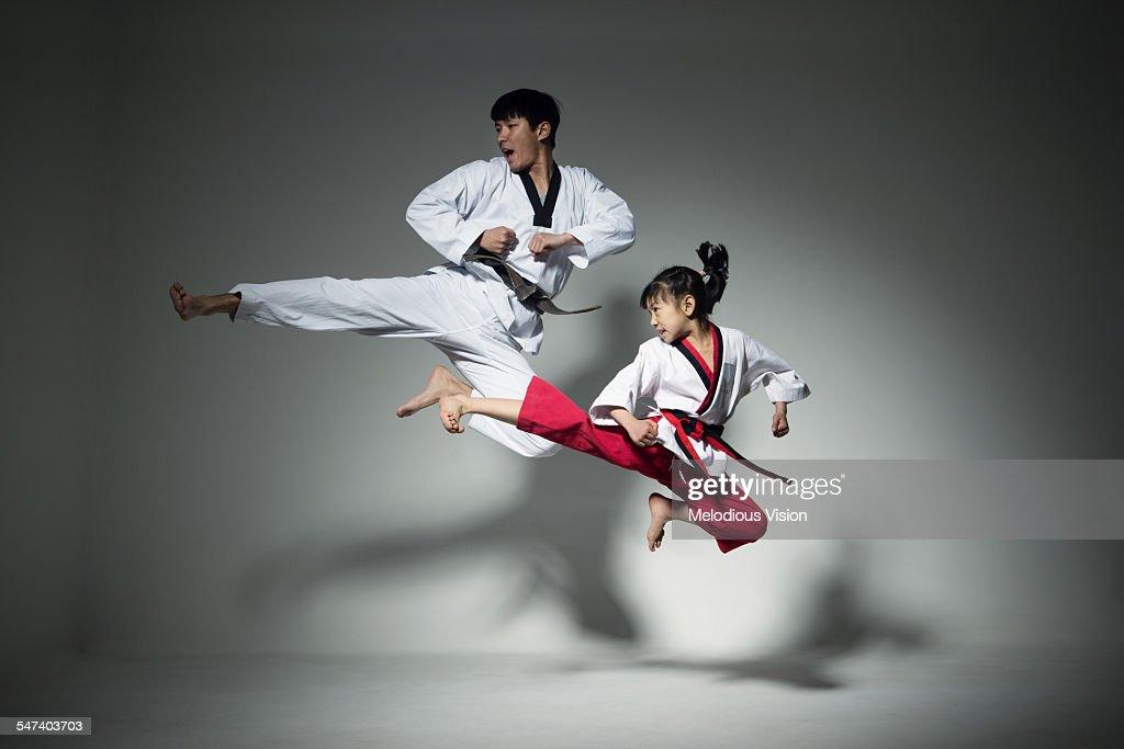 Teenagers doing martial arts, Tae Kwon Do : Stock Photo