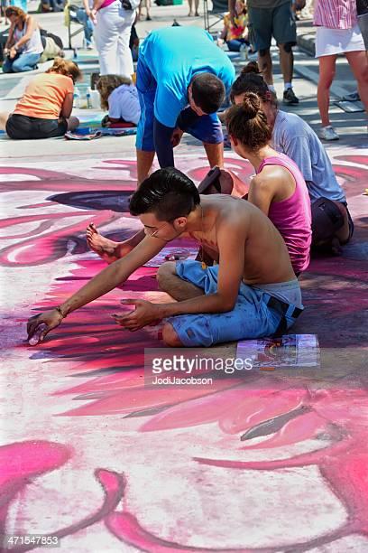 Teenager Zeichnung Kreide-street art