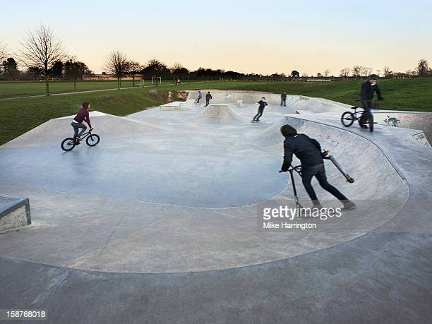 Teenagers Enjoying City Skate Park