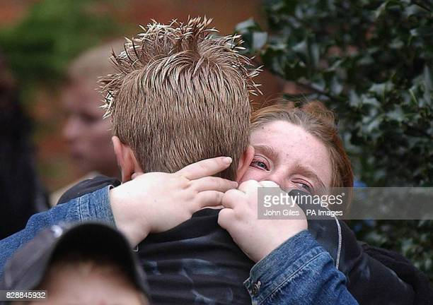 Teenagers from Birkbeck School North Somercotes in Linconshire emotionally embrace following the tragic death of fellow pupil Luke Walmsley Police...