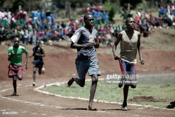 Teenagers from different schools compete at a competition in Iten outside Eldoret Kenya Some of the best runners in the world come from his highland...