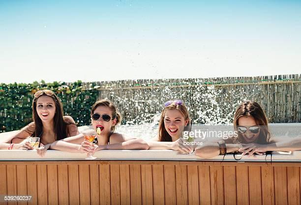 Teenagers Having Fun In hot tub