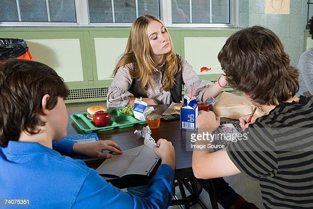 teenagers in cafeteria - milk carton stock photos and pictures