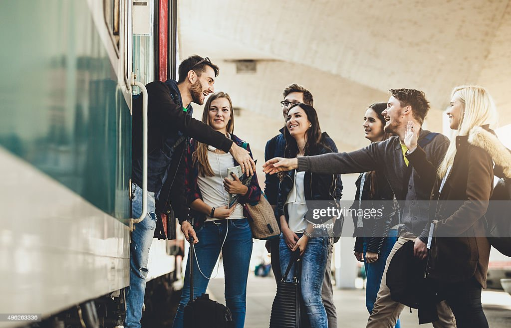 Teenagers on the railway station : Stock Photo