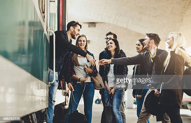 Teenagers on the railway station