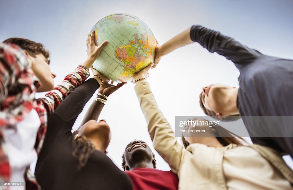 teenagers reaching the world at campus : Stock Photo