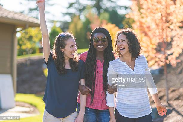 Teenagers spending time together outside during summer