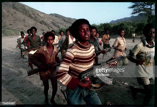 Teenagers training at an Eritrean People's Liberation Front camp in the desert in norther Eritrea 18th June 1978