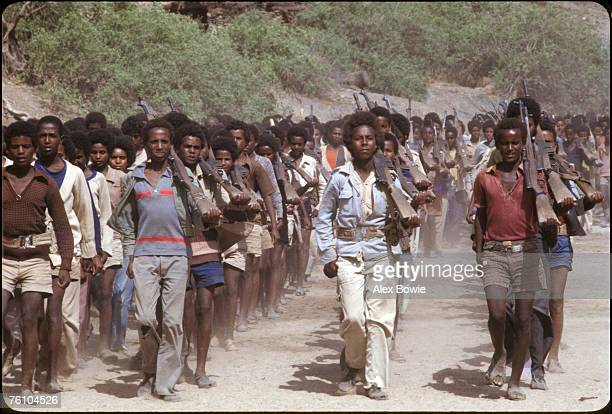 Teenagers training at an Eritrean People's Liberation Front camp in the desert of northern Eritrea 18th June 1978