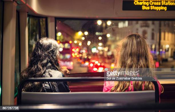 Teenagers traveling by bus