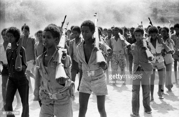 Teenagers undergo military training at an Eritrean People's Liberation Front camp in the desert of northern Eritrea Ethiopia 18th June 1978