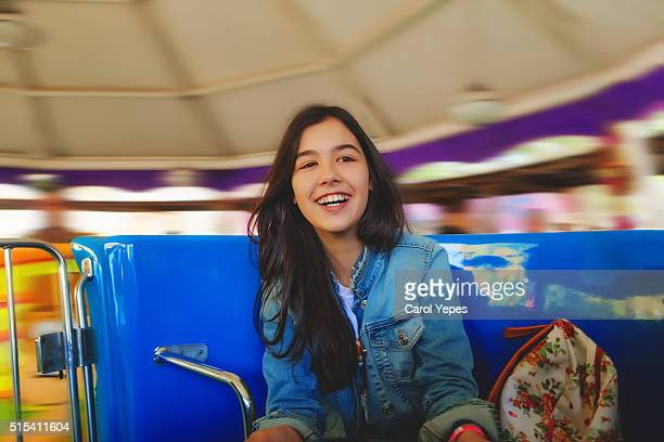 teenl having fun on amusement park ride - blackpool stock pictures, royalty-free photos & images