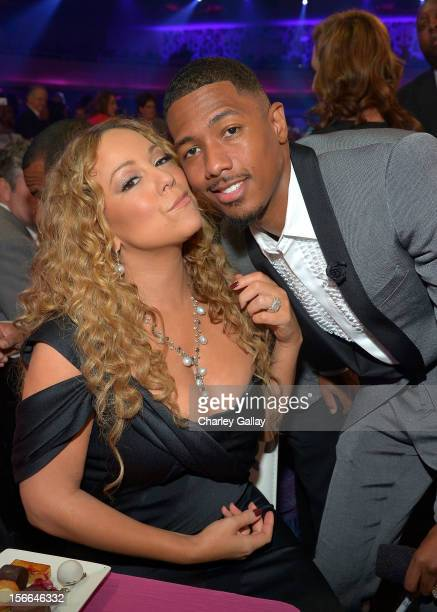 TeenNick Chairman and HALO Awards host Nick Cannon and singer Mariah Carey attend Nickelodeon's 2012 TeenNick HALO Awards at Hollywood Palladium on...