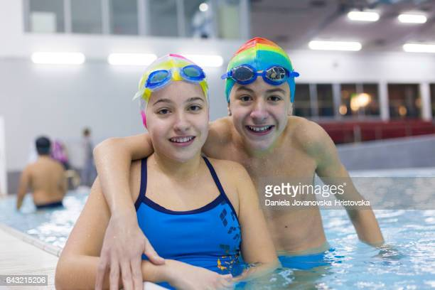 teens at swimming class