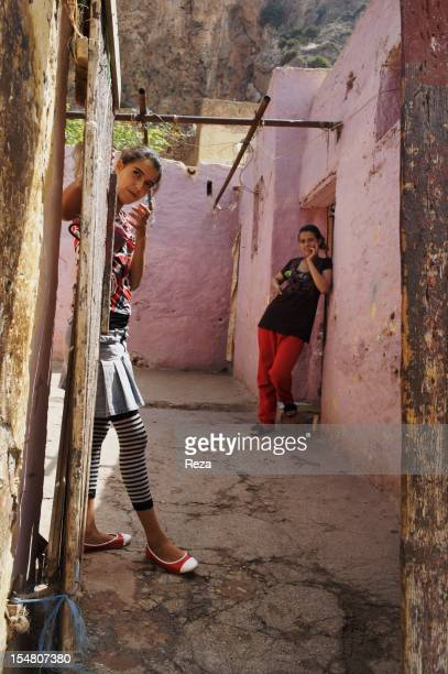 Teens at the entrance of a house on April 8 in Kristel Algeria