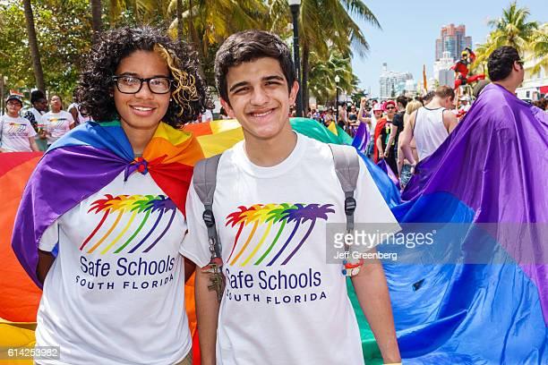 Teens wearing Safe Schools South Florida tshirts at the Gay Pride Parade on 'Ocean Drive'