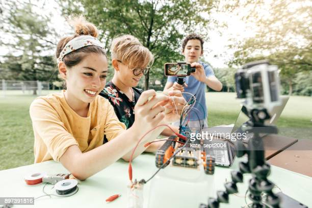 teens working on robotics project - stem stock photos and pictures