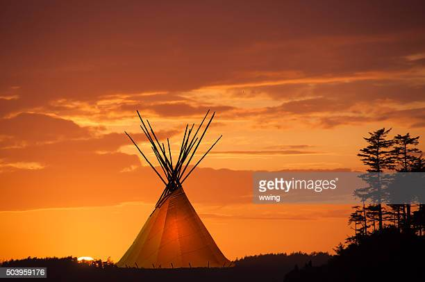 Teepee and gold sunset- light in teepee