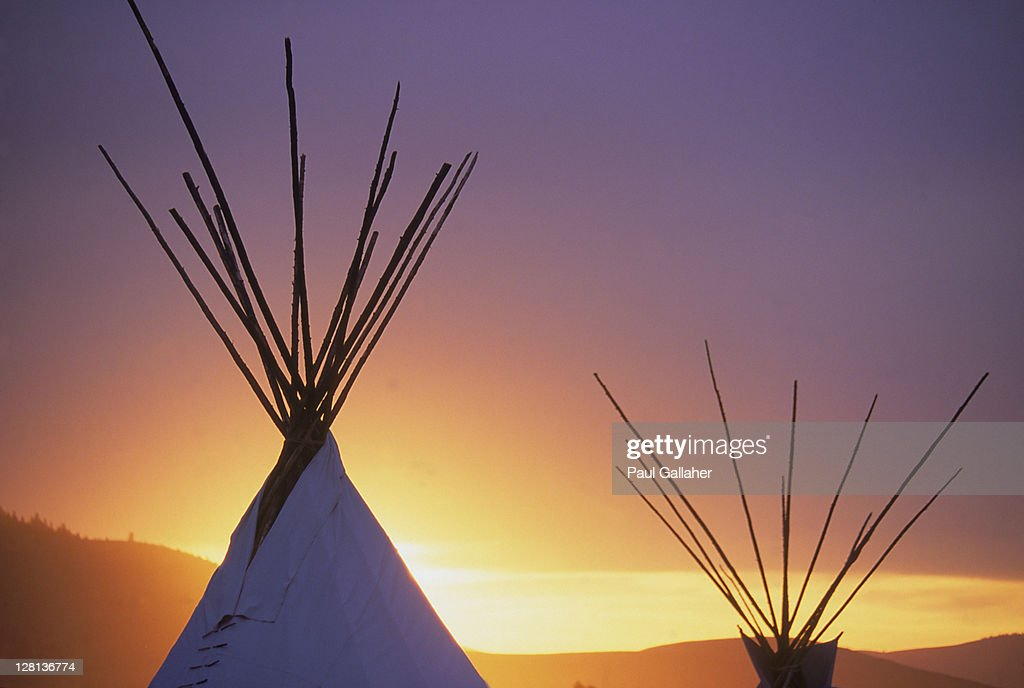 Teepee at sunset, MT : Stock Photo