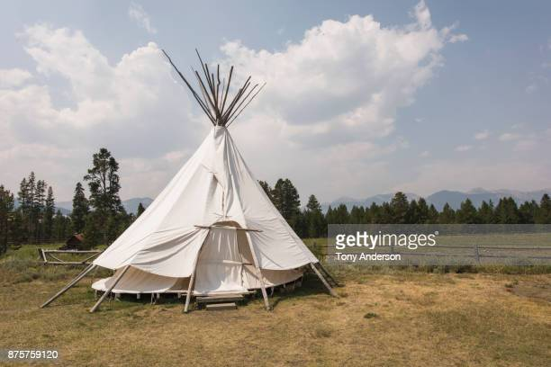 teepee in mountain valley - teepee stock pictures, royalty-free photos & images