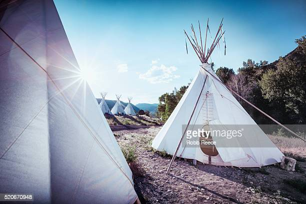 teepee tents at sunrise in colorado - robb reece stock pictures, royalty-free photos & images