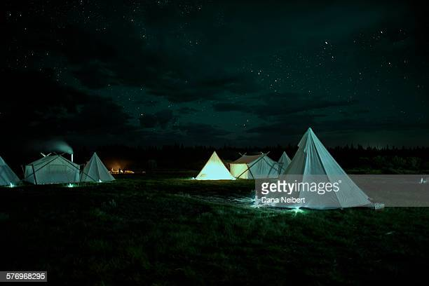 Teepees and tents in a campground