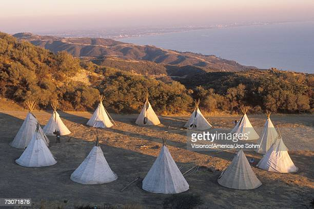 """""""teepees in a circle in malibu, ca"""" - teepee stock photos and pictures"""