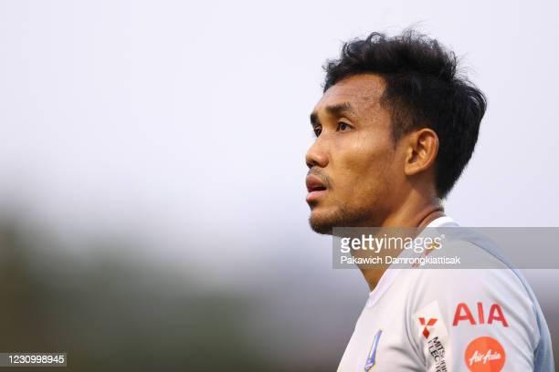 Teerasil Dangda of BG Pathum United is seen prior to the Thai League 1 match between Police Tero FC and BG Pathum United at Boonyachinda Stadium on...