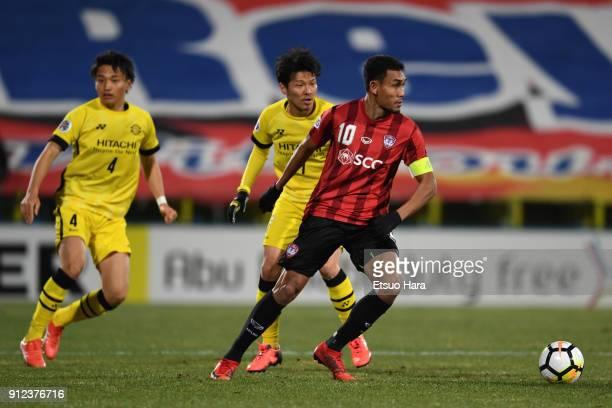 Teerasil Dangda of Muangthong United in action during the AFC Champions League playoff between Kashiwa Reysol and Muangthong United at Hitachi...