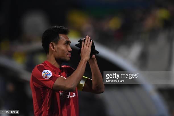 Teerasil Dangda of Muangthong United looks on after the AFC Champions League playoff between Kashiwa Reysol and Muangthong United at Hitachi Kashiwa...