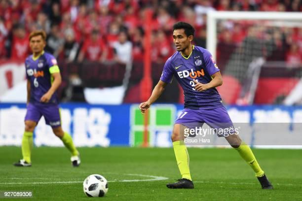Teerasil Dangda of Sanfrecce Hiroshima in action during the J.League J1 match between Urawa Red Diamonds and Sanfrecce Hiroshima at Saitama Stadium...